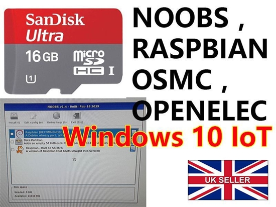 16gb class 10 preloaded with noobs, Windows 10 IoT etc  Raspberry Pi 2