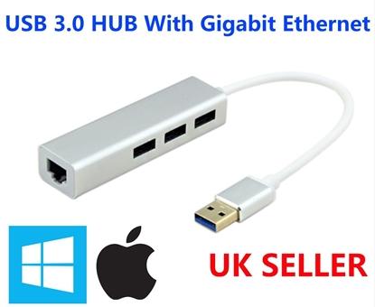 Picture of USB to LAN Adapter USB-C RJ45 Gigabit Ethernet Network 3 USB 3.0 Port Hub