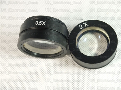Picture of 0.5X/2X Barlow Auxiliary Glass Lens for Industry Microscope Camera C-MOUNT lens