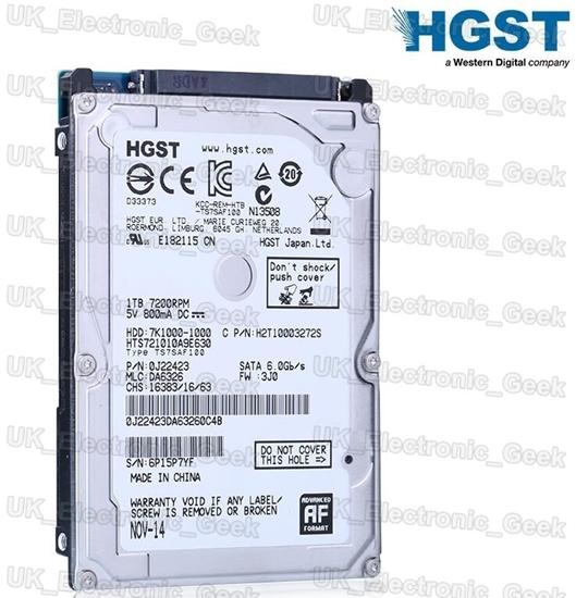 """Picture of 2017 NEW 1TB 2.5"""" HGST SATA Internal Hard Drive 7200RPM LAPTOP MAC PS3/4 U.K."""