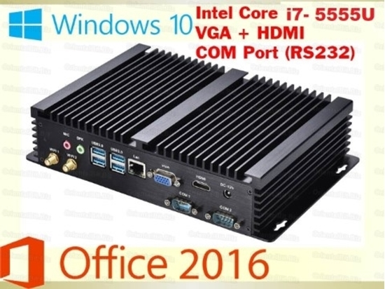Picture of Dual Com Port Industrial Fanless Mini PC Intel Core i7 5550U Mini PC Windows