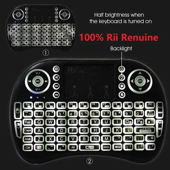 Picture of Rii i8s+ KODI XBMC 2.4Ghz RF Mini Wireless Keyboard LED Backlit Touchpad Mouse