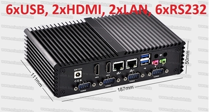Picture of Mini PC Intel core i5, fanless, 6 RS232, 6 USB, 2 HDMI, 2 LAN