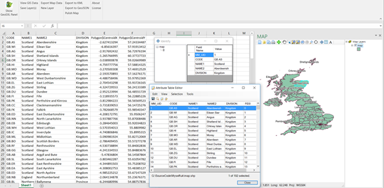 Picture of GIS Addin for Microsoft EXCEL 2016
