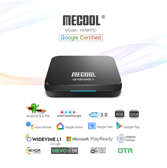 Picture of Image for 2019 MECOOL 'KM9 Pro' Voice Control TV Box Google Certificated 2019 MECOOL 'KM9 Pro' Voice Control TV Box Google Certificated
