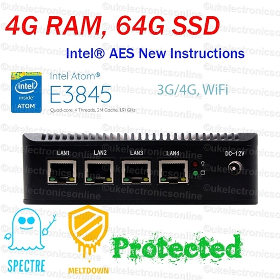 Picture of Intel Atom® E3845 4 LAN 3G/4G 4G RAM/64G SSD Fanless Firewall AES-NI Networking
