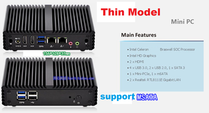Picture of RS232, 6xUSB, 2xLAN Celeron Industrial Fanless Mini PC