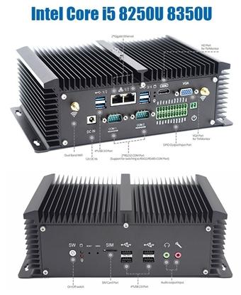 Picture of Intel Core i5 8350U Mini PC 2*RS232/422/485 2*LAN 8*USB HDMI VGA GPIO WiFi 4G LTE SIM DDR4 Embedded Industrial PC Windows 10