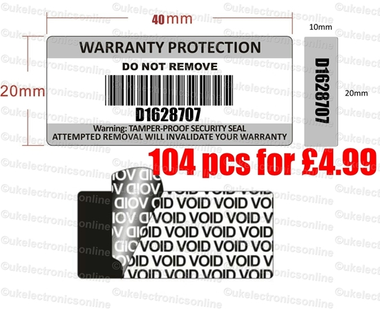 Picture of 110 x Tamper Proof Warranty Void Stickers Security Tamper Evident Barcode Labels