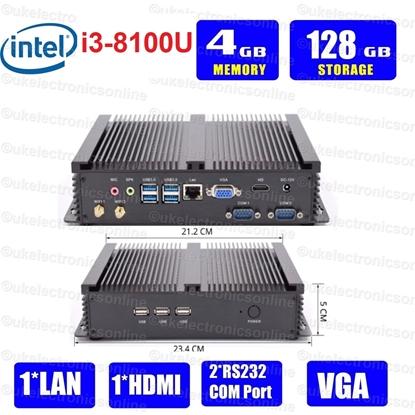 Picture of Dual Com Port Industrial Fanless Mini PC Intel Core i3-8100U 8th Gen 8100U  Mini PC Windows