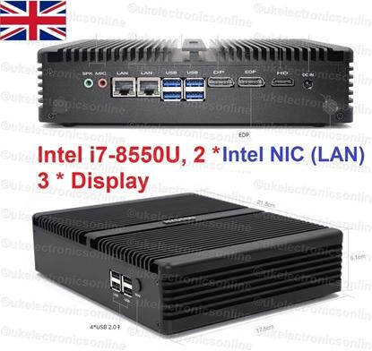 Picture of 8th Gen Intel® Core i7-8550U 2 Intel LAN 3 Display Fanless Mini PC