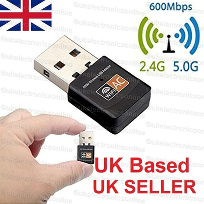 Picture of 600 Mbps 2.4-5Ghz USB Dual Band Wireless Adapter WiFi Dongle 802.11 AC Laptop PC
