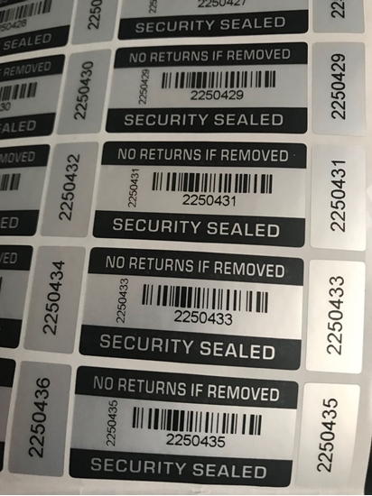 Picture of Tamper Proof Warranty Void Stickers Security Tamper Evident Barcode Labels