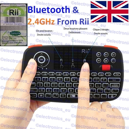 Picture of Rii i4 2.4GHz/Bluetooth Wireless Touchpad Keyboard Mouse for PC PAD XBox360 PS3 TV UK