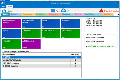 Picture of Inventory Stock Management Plus PC Software - Stock, Invoice, Barcode, UK
